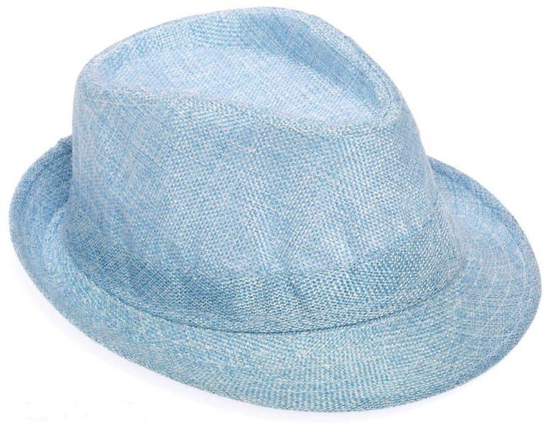 Καπέλο ψάθινο σιέλ για βαπτιστικό κοστούμι αγοριού