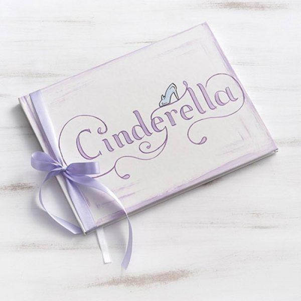 βιβλίο-ευχών-βάπτισης-cinderella-λευκό-με-εξώφυλλο