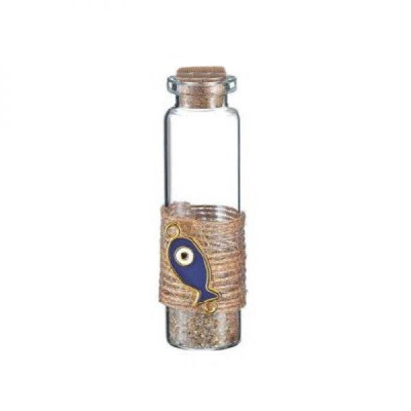 γυαλινο μπουκαλι μπλε ψαρι