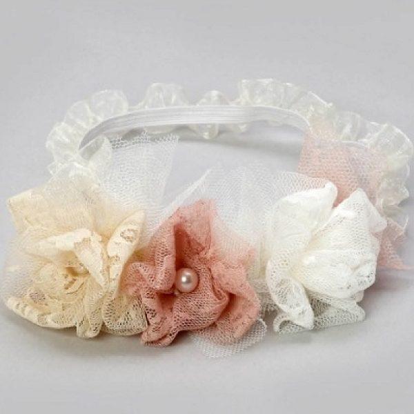 κορδέλα για τα μαλλιά με λευκά, σάπιο μήλο και nude λουλούδια