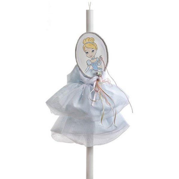 λαμπάδα-βάπτισης-cinderella-σε-σχήμα-φορεματάκι