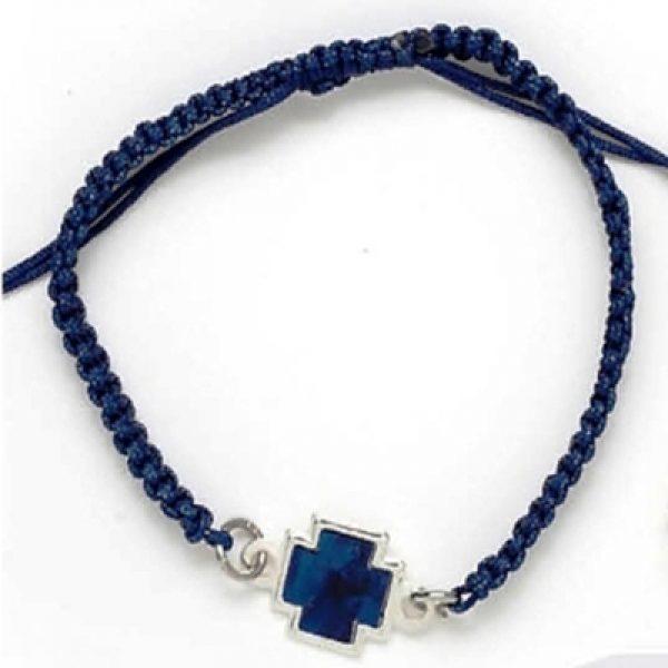 μαρτυρικό βάπτισης μακραμέ μπλε σταυρός
