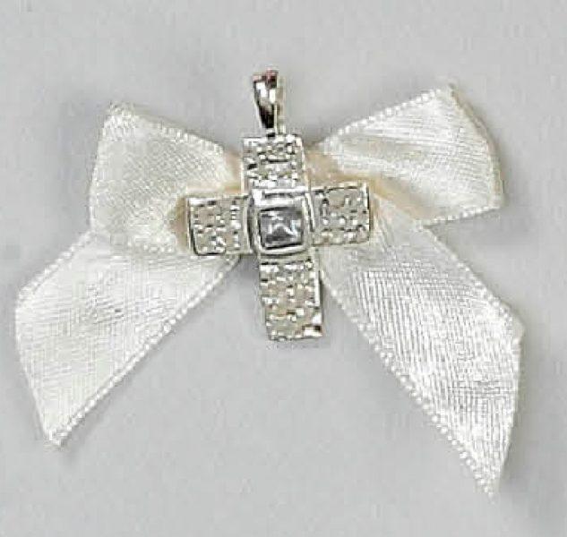 μαρτυρικό βάπτισης σταυρουδάκι λευκό με πέτρα καρφίτσα