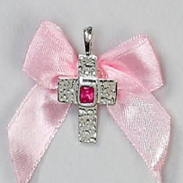 μαρτυρικό βάπτισης σταυρουδάκι με ροζ πέτρα καρφίτσα
