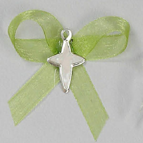 μαρτυρικό βάπτισης σταυρουδάκι πράσινο καρφίτσα