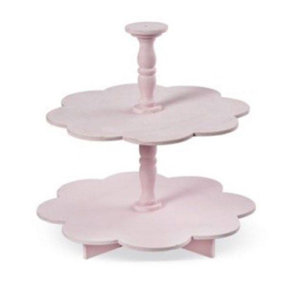 ξύλινη-ροζ-τουρτιέρα-μαργαρίτα-διπλή