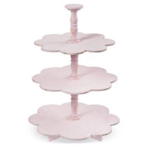 ξύλινη-ροζ-τουρτιέρα-μαργαρίτα-τριπλή