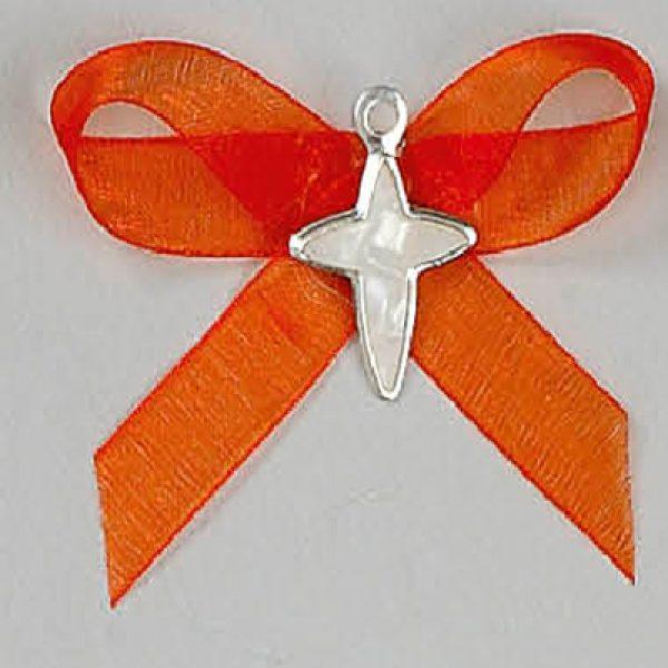 μαρτυρικό βάπτισης σταυρουδάκι πορτοκαλί καρφίτσα