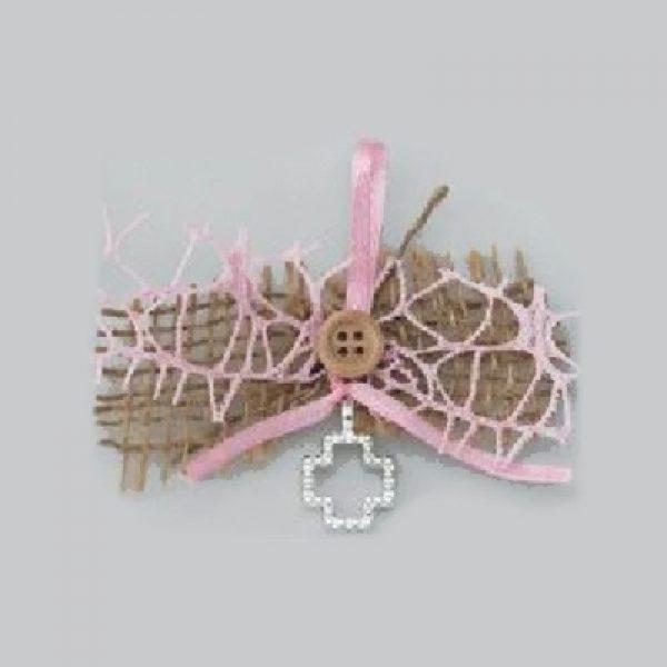 μαρτυρικό βάπτισης σταυρός λινάτσα ροζ