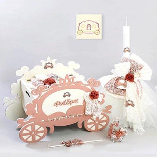 σετ βαπτισης(με vintage αμαξα) με θεμα πριγκιπισσα