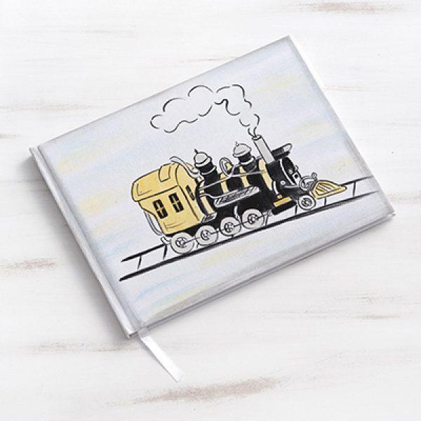 βιβλίο-ευχών-βάπτισης-τρένο-vintage